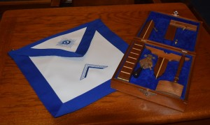 Working tools and apron of a freemason.