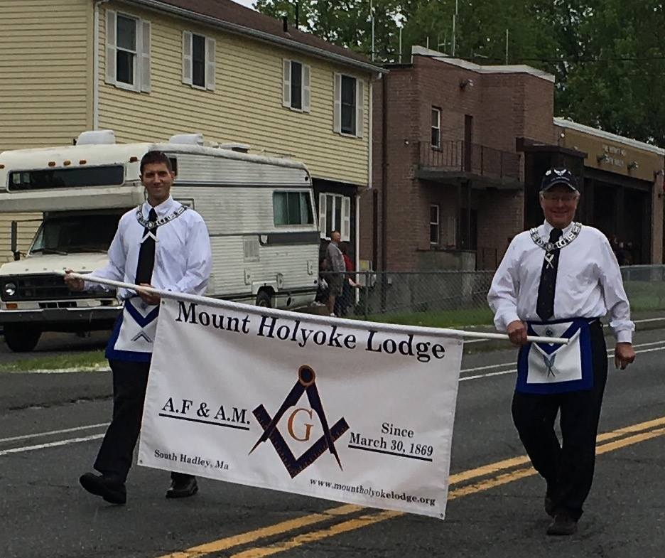 William Jubinville and Ronald Jackson marching in the 2017 South Hadley Memorial Day Parade